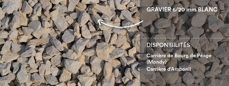 Matériaux Cheval Granulats gravier 6/20 mm blanc pour voiries, chemins, cours