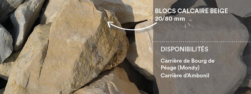 Matériaux Cheval Granulats blocs calcaire beige 20/80 mm pour voiries, chemins, cours