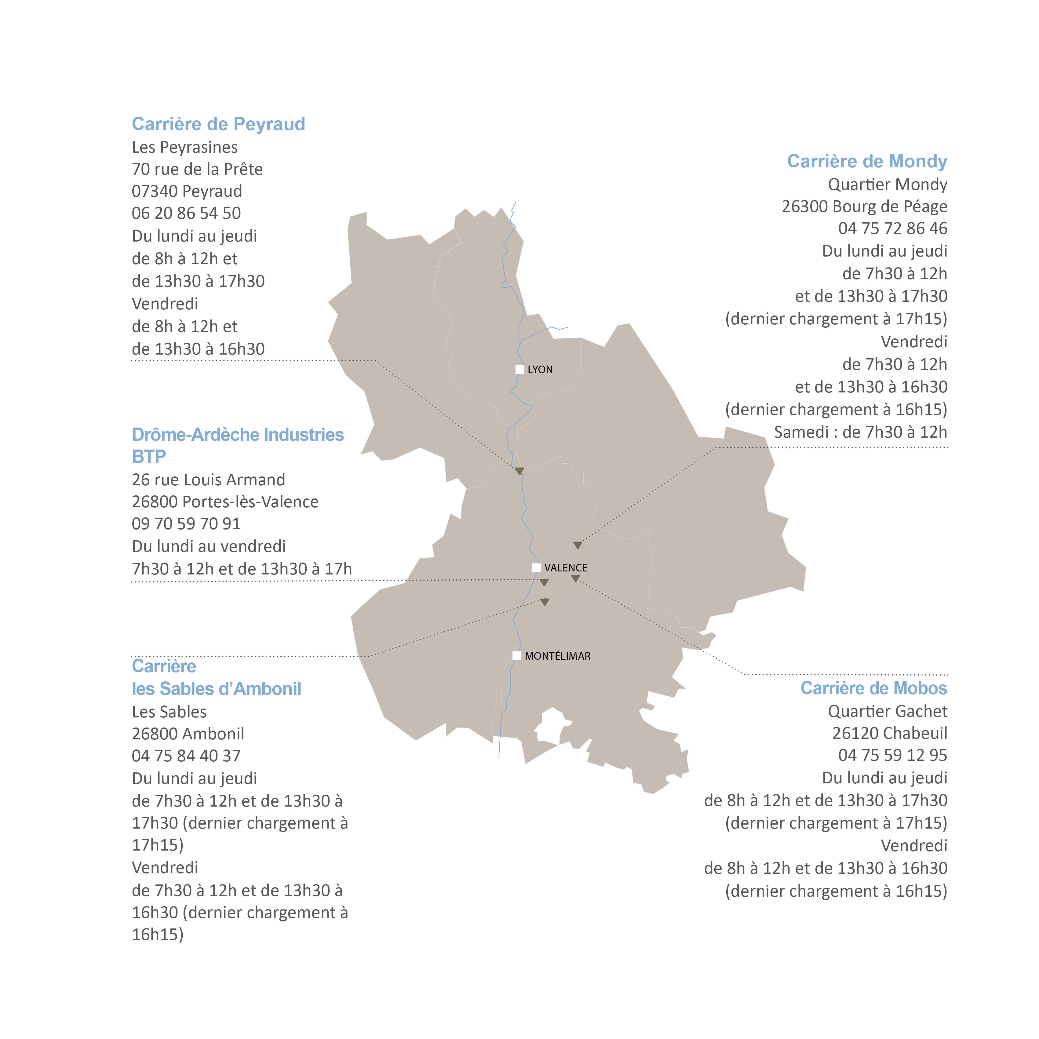 Implantation et horaires des carrières Cheval Granulats