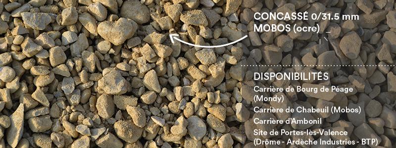 Matériaux Cheval Granulats concassé 0/31.5 mm Mobos (ocre) pour voiries, chemins, cours
