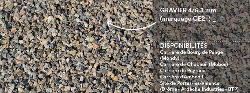 Matériaux Cheval Granulats gravier 4/6.3 mm (marquage CE2+) pour voiries, chemins, cours