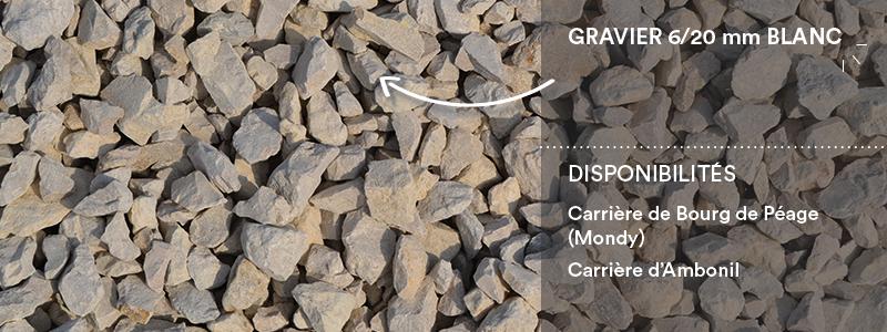 Matériaux Cheval Granulats gravier 6/20 mm blanc pour travaux paysagers