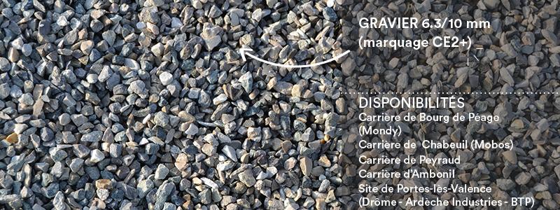 Matériaux Cheval Granulats gravier 6.3/10 mm (marquage CE2+) pour voiries, chemins, cours