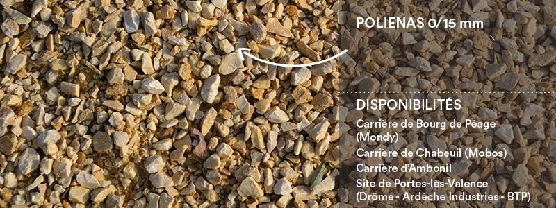 Matériaux Cheval Granulats Polienas 0/15 mm pour voiries, chemins, cours