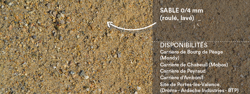 Matériaux Cheval Granulats sable 0/4 mm roulé, lavé pour béton/mortier
