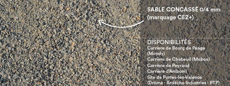 Matériau Cheval Granulats sable concassé 0/4 mm (marquage CE2+) pour voiries, chemins, cours